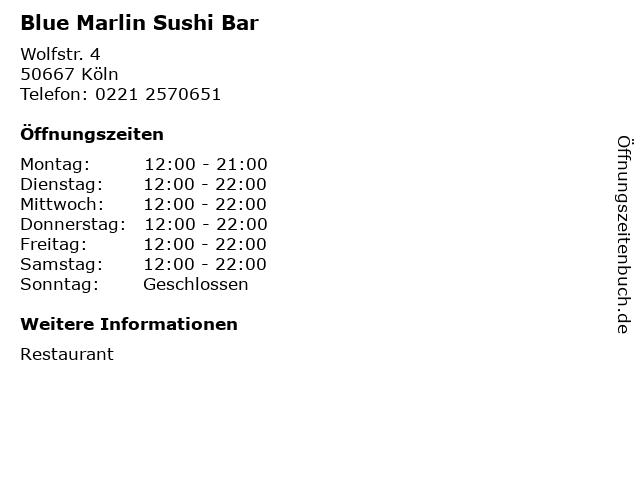 Blue Marlin Sushi Bar in Köln: Adresse und Öffnungszeiten