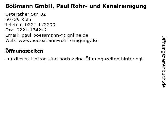 Bößmann GmbH, Paul Rohr- und Kanalreinigung in Köln: Adresse und Öffnungszeiten