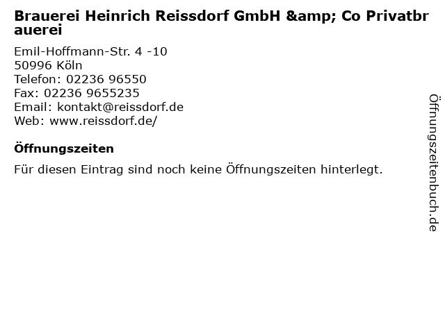 Brauerei Heinrich Reissdorf GmbH & Co Privatbrauerei in Köln: Adresse und Öffnungszeiten