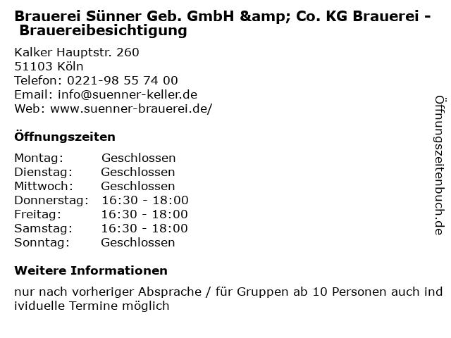 Brauerei Sünner Geb. GmbH & Co. KG Brauerei - Brauereibesichtigung in Köln: Adresse und Öffnungszeiten