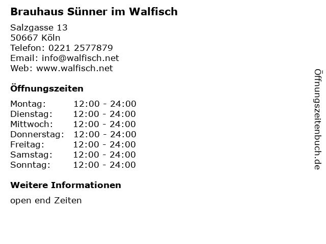 Brauhaus Sünner im Walfisch in Köln: Adresse und Öffnungszeiten