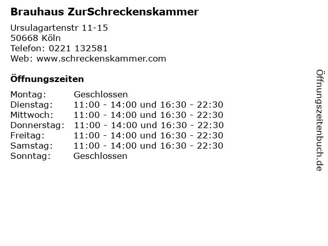 Brauhaus ZurSchreckenskammer in Köln: Adresse und Öffnungszeiten