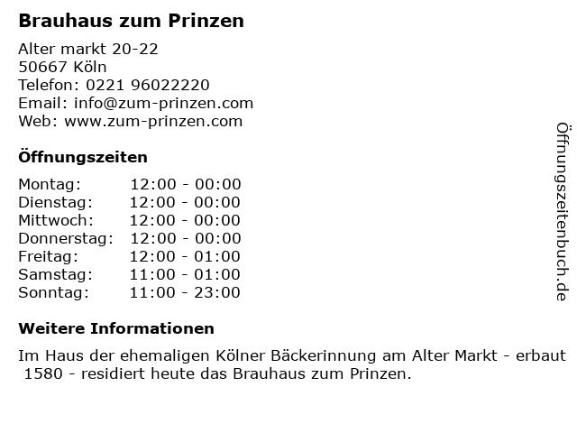 Brauhaus zum Prinzen in Köln: Adresse und Öffnungszeiten