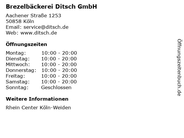 Brezelbäckerei Ditsch GmbH in Köln: Adresse und Öffnungszeiten