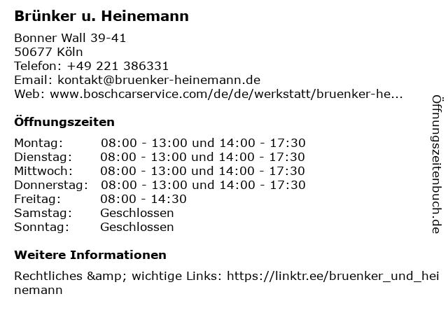 ᐅ öffnungszeiten Brünker Heinemann Gmbh Bosch Car Service
