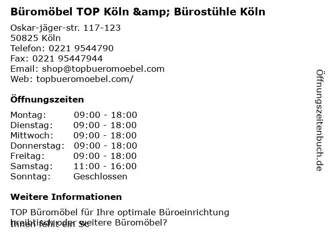 ᐅ Offnungszeiten Top Buromobel Oskar Jager Strasse 117 123 In Koln