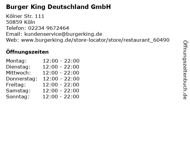 Burger King Deutschland GmbH in Köln: Adresse und Öffnungszeiten