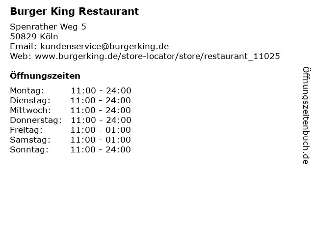 Burger King Restaurant in Köln: Adresse und Öffnungszeiten