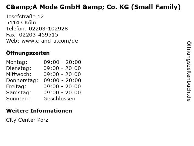 C&A Mode GmbH & Co. KG (Small Family) in Köln: Adresse und Öffnungszeiten