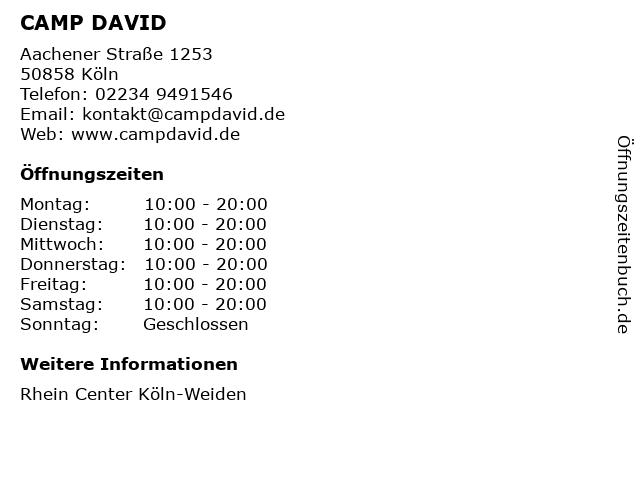 CAMP DAVID in Köln: Adresse und Öffnungszeiten