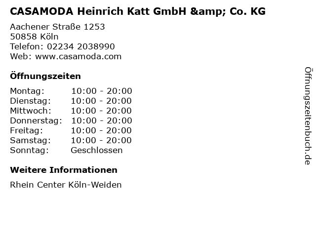 CASAMODA Heinrich Katt GmbH & Co. KG in Köln: Adresse und Öffnungszeiten