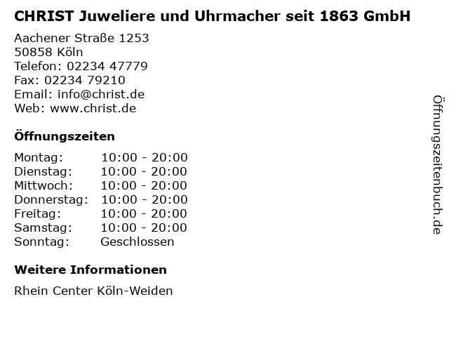 CHRIST Juweliere und Uhrmacher seit 1863 GmbH in Köln: Adresse und Öffnungszeiten
