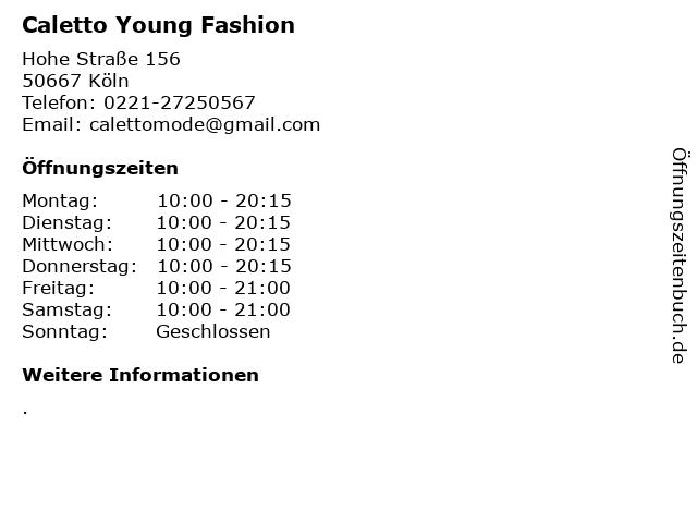 Caletto Young Fashion in Köln: Adresse und Öffnungszeiten