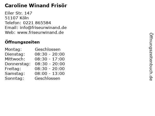 Caroline Winand Frisör in Köln: Adresse und Öffnungszeiten