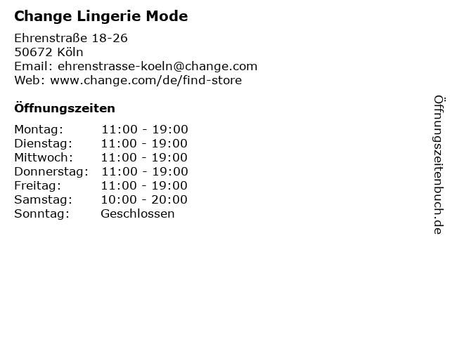Change Lingerie Mode in Köln: Adresse und Öffnungszeiten