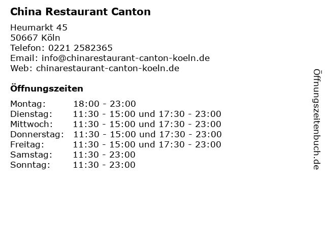 China Restaurant Canton in Köln: Adresse und Öffnungszeiten