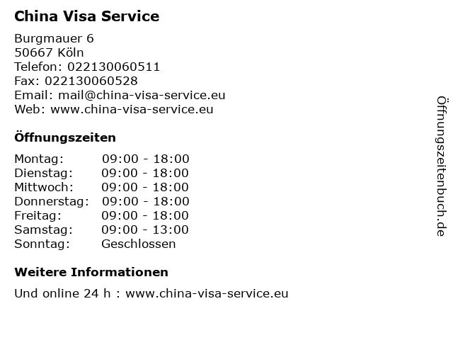 China Visa Service in Köln: Adresse und Öffnungszeiten