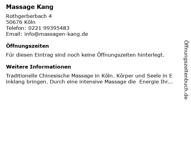 Chinesische Wellness Massage Kang Köln in Köln: Adresse und Öffnungszeiten