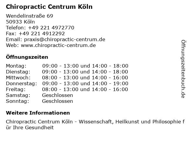 Chiropractic Centrum Köln in Köln: Adresse und Öffnungszeiten