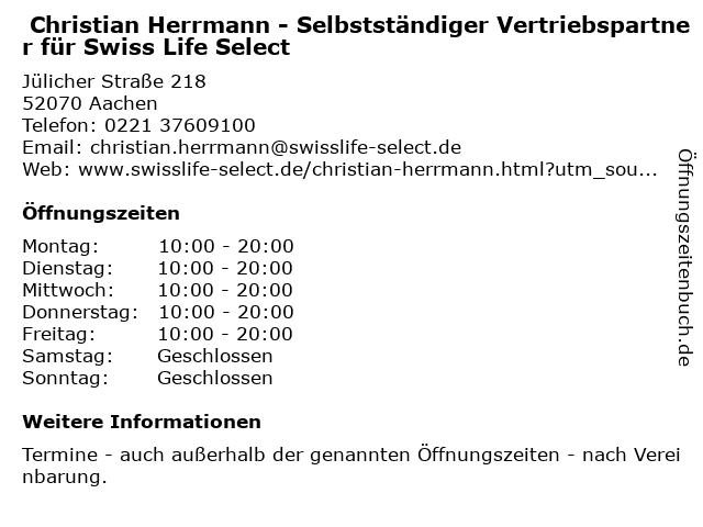 Christian Herrmann - Selbstständiger Vertriebspartner für Swiss Life Select in Köln: Adresse und Öffnungszeiten