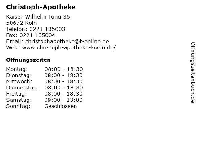 Christoph-Apotheke in Köln: Adresse und Öffnungszeiten