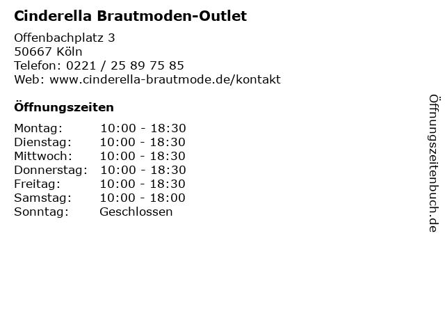 ᐅ Offnungszeiten Cinderella Brautmoden Outlet Offenbachplatz 3 In