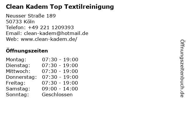Clean Kadem Top Textilreinigung in Köln: Adresse und Öffnungszeiten