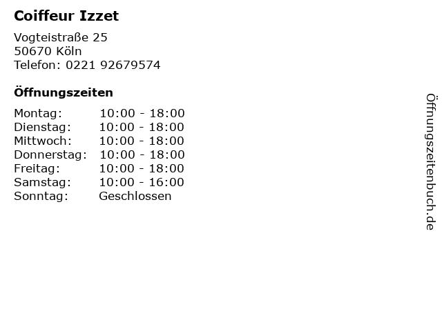 Coiffeur Izzet in Köln: Adresse und Öffnungszeiten