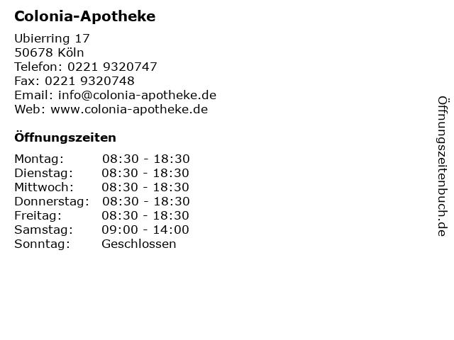Colonia-Apotheke in Köln: Adresse und Öffnungszeiten