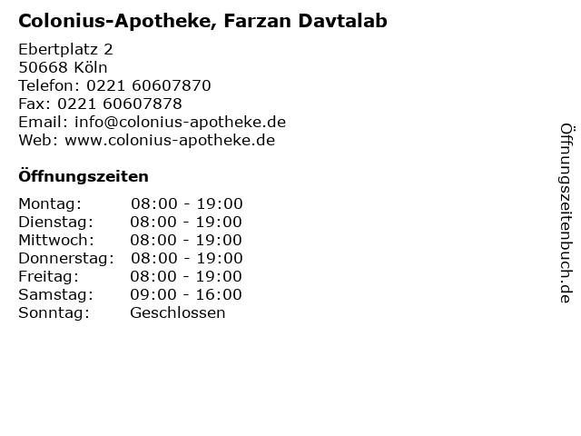 Colonius-Apotheke, Farzan Davtalab in Köln: Adresse und Öffnungszeiten