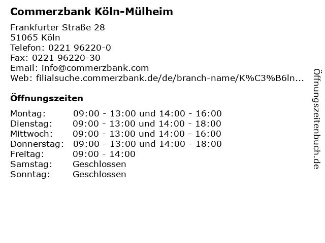 Commerzbank Köln Mülheim öffnungszeiten