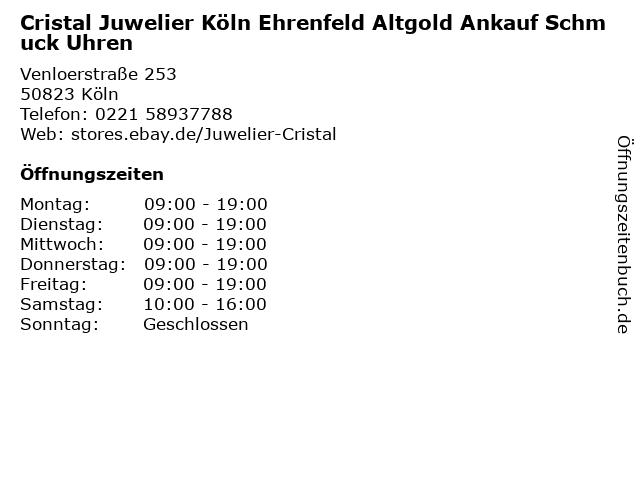 Cristal Juwelier Köln Ehrenfeld Altgold Ankauf Schmuck Uhren in Köln: Adresse und Öffnungszeiten