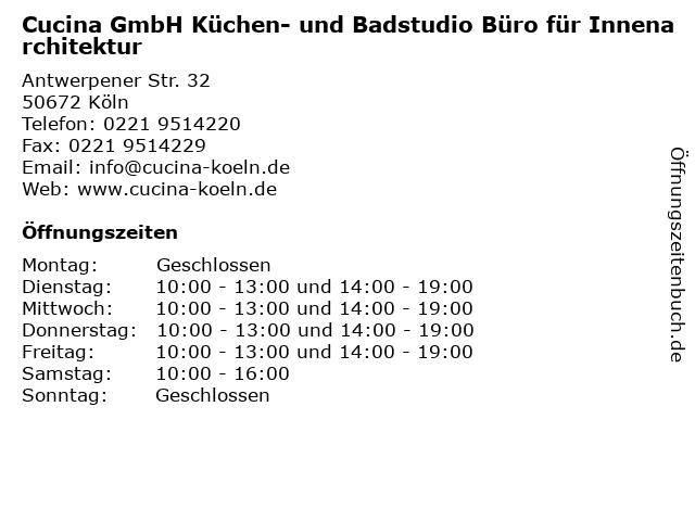 ᐅ Offnungszeiten Cucina Gmbh Kuchen Und Badstudio Buro Fur