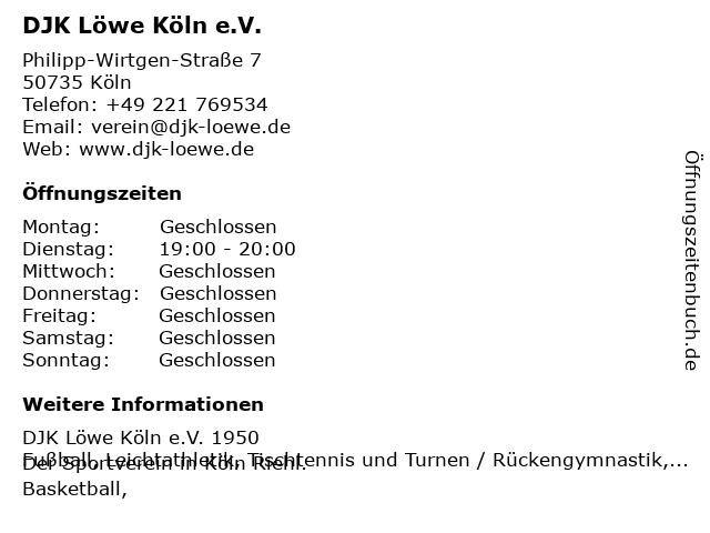 DJK Löwe Köln e.V. in Köln: Adresse und Öffnungszeiten