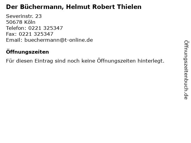 Der Büchermann, Helmut Robert Thielen in Köln: Adresse und Öffnungszeiten