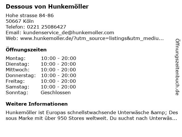 Dessous von Hunkemöller in Köln: Adresse und Öffnungszeiten