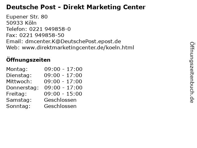 Deutsche Post - Direkt Marketing Center in Köln: Adresse und Öffnungszeiten