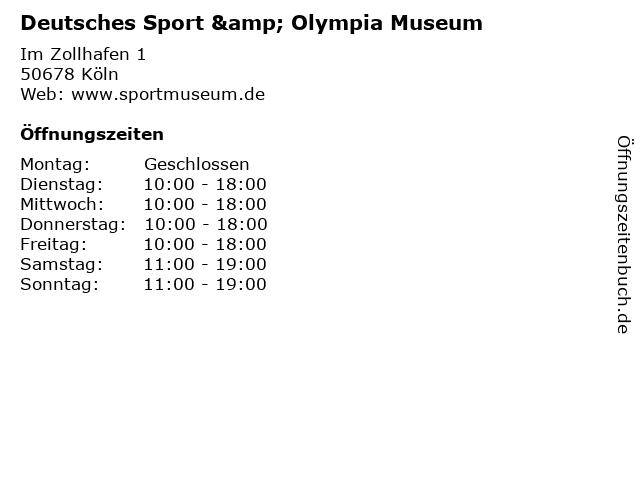 Deutsches Sport & Olympia Museum in Köln: Adresse und Öffnungszeiten