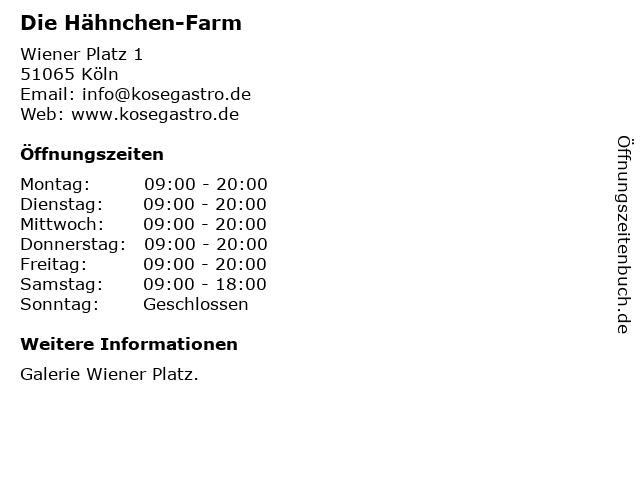 Die Hähnchen-Farm in Köln: Adresse und Öffnungszeiten