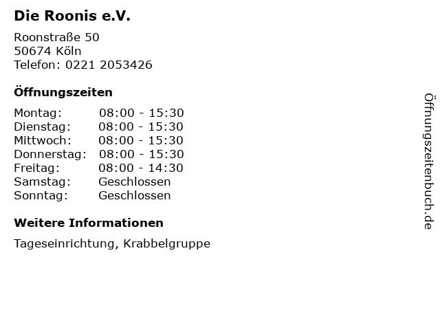 Die Roonis e.V. in Köln: Adresse und Öffnungszeiten