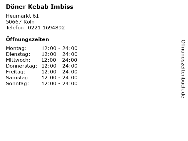 Döner Kebab Imbiss in Köln: Adresse und Öffnungszeiten