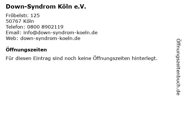 Down-Syndrom Köln e.V. in Köln: Adresse und Öffnungszeiten