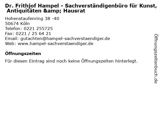 Dr. Frithjof Hampel - Sachverständigenbüro für Kunst, Antiquitäten & Hausrat in Köln: Adresse und Öffnungszeiten