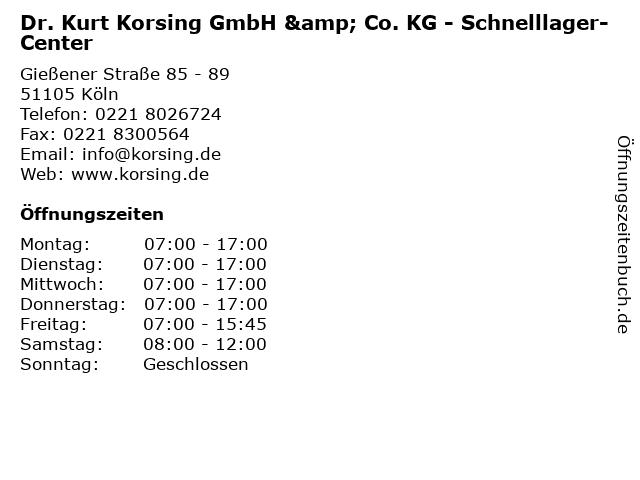 Dr. Kurt Korsing GmbH & Co. KG - Schnelllager-Center in Köln: Adresse und Öffnungszeiten