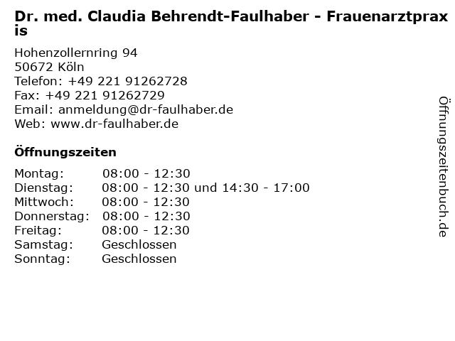 Dr. med. Claudia Behrendt-Faulhaber in Köln: Adresse und Öffnungszeiten