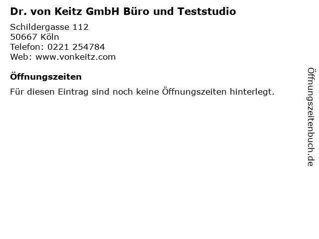 Dr. von Keitz GmbH Büro und Teststudio in Köln: Adresse und Öffnungszeiten