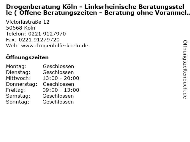 Drogenberatung Köln - Linksrheinische Beratungsstelle ( Offene Beratungszeiten - Beratung ohne Voranmeldung ) in Köln: Adresse und Öffnungszeiten