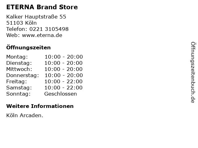 ETERNA Brand Store in Köln: Adresse und Öffnungszeiten