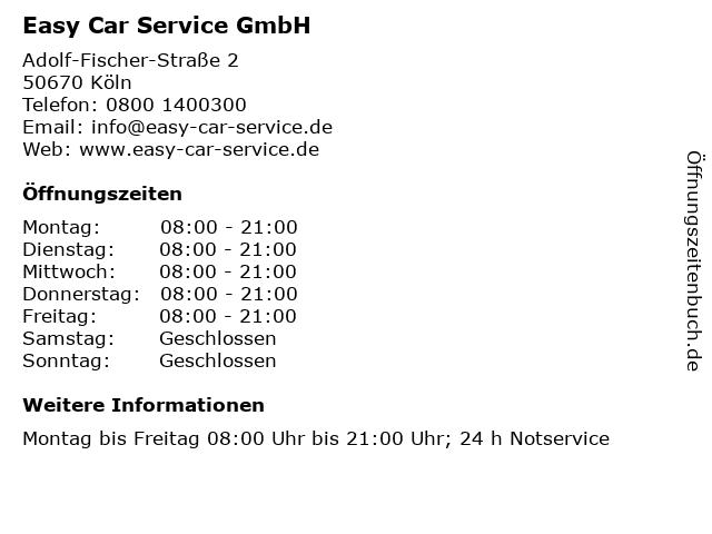 Easy Car Service GmbH in Köln: Adresse und Öffnungszeiten