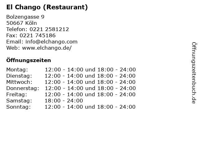 El Chango (Restaurant) in Köln: Adresse und Öffnungszeiten